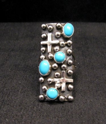 Image 0 of Native American Navajo Turquoise Silver Cross Ring sz8-1/2, Geneva Apachito