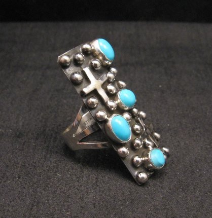 Image 1 of Native American Navajo Turquoise Silver Cross Ring sz8-1/2, Geneva Apachito