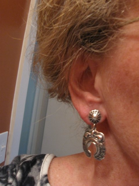 Image 3 of Native American Darryl Becenti Navajo Repousse Naja Sterling Silver Earrings