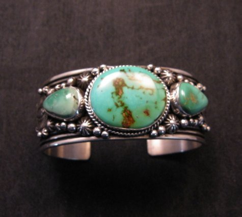 Image 0 of Native American Navajo Royston Turquoise Sterling Silver Bracelet Happy Piasso