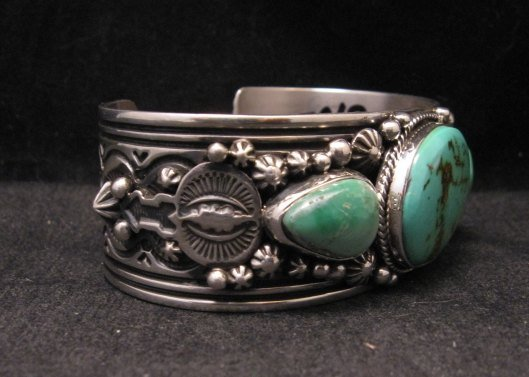 Image 1 of Native American Navajo Royston Turquoise Sterling Silver Bracelet Happy Piasso