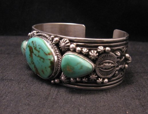 Image 2 of Native American Navajo Royston Turquoise Sterling Silver Bracelet Happy Piasso