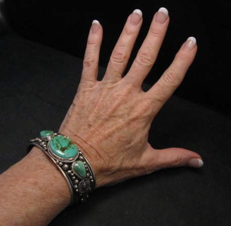 Image 4 of Native American Navajo Royston Turquoise Sterling Silver Bracelet Happy Piasso