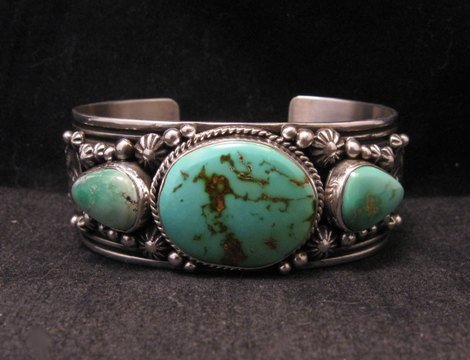 Image 6 of Native American Navajo Royston Turquoise Sterling Silver Bracelet Happy Piasso