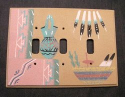Native American Navajo Sandpainted Triple Toggle Switchplate Cover Plate