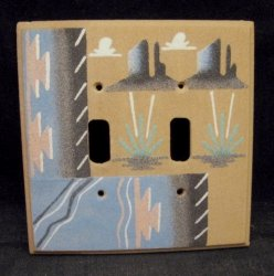 Native American Navajo Sandpainted Double Toggle Switchplate Cover Plate