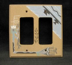 Native American Navajo Sandpainted Double Rocker Switchplate Cover Plate