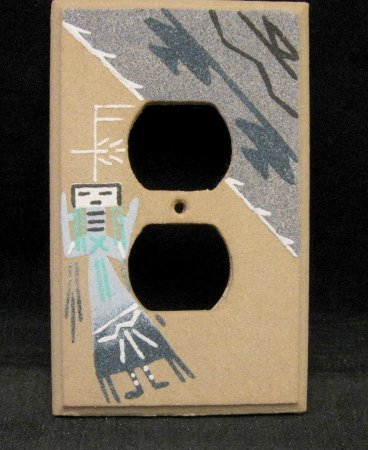 Image 0 of Native American Navajo Sandpainted One Duplex Outlet Cover