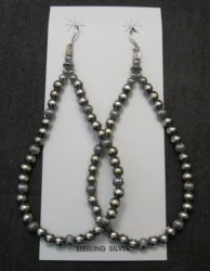 Super-Long Desert Pearls Mixed Sterling Silver Bead Earrings