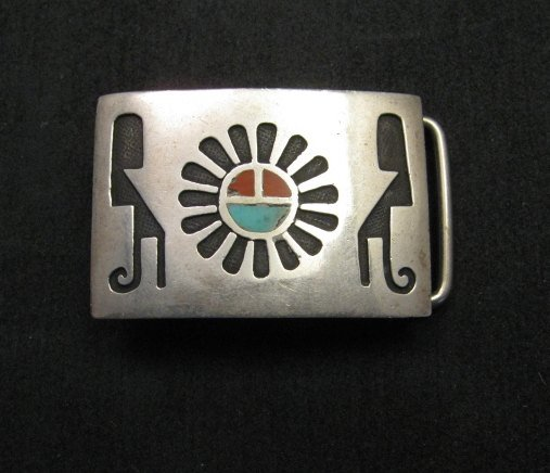 Image 0 of Vintage Native American Silver Turquoise Coral Inlay Buckle