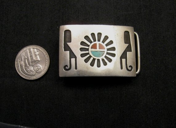 Image 1 of Vintage Native American Silver Turquoise Coral Inlay Buckle