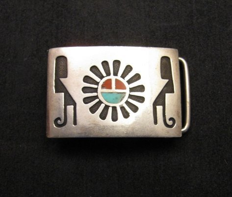 Image 3 of Vintage Native American Silver Turquoise Coral Inlay Buckle