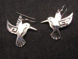 Everett & Mary Teller Navajo Native American  Silver Hummingbird Earrings