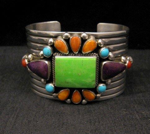 Image 0 of Native American Multistone Gem Cluster Silver Bracelet by Albert Jake, Navajo