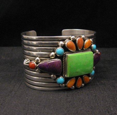 Image 1 of Native American Multistone Gem Cluster Silver Bracelet by Albert Jake, Navajo