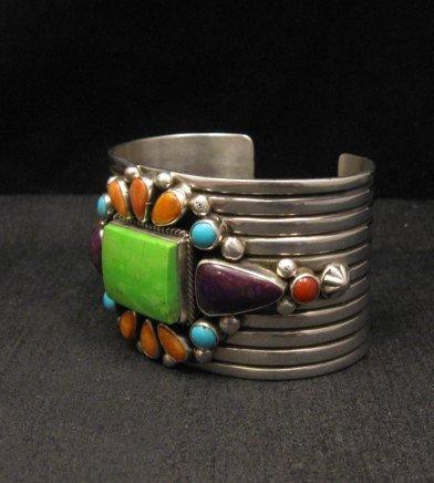 Image 2 of Native American Multistone Gem Cluster Silver Bracelet by Albert Jake, Navajo