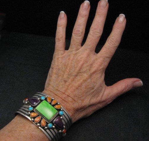 Image 3 of Native American Multistone Gem Cluster Silver Bracelet by Albert Jake, Navajo