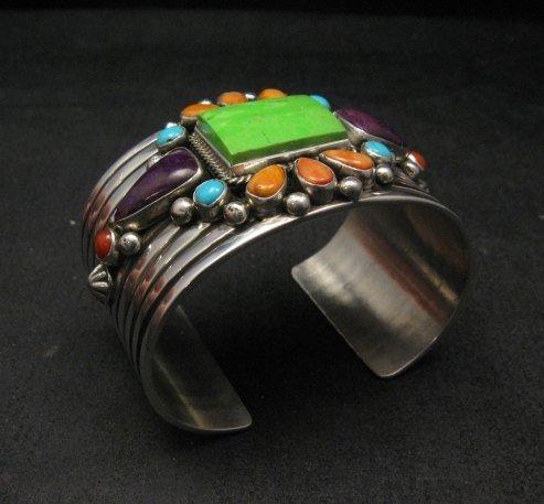 Image 4 of Native American Multistone Gem Cluster Silver Bracelet by Albert Jake, Navajo