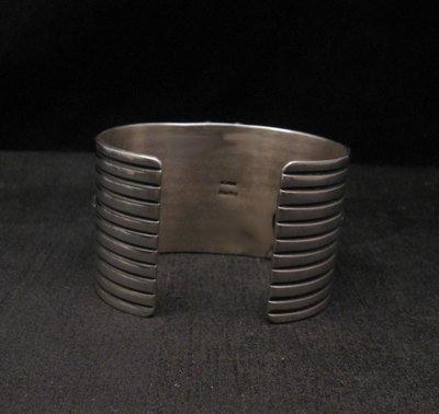 Image 5 of Native American Multistone Gem Cluster Silver Bracelet by Albert Jake, Navajo