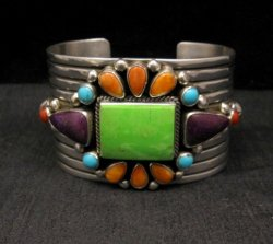 Native American Multistone Gem Cluster Silver Bracelet by Albert Jake, Navajo