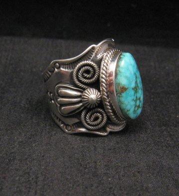 Image 2 of Navajo Andy Cadman Native American Kingman Birdseye Turquoise Ring sz10