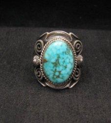Navajo Andy Cadman Native American Kingman Birdseye Turquoise Ring sz10