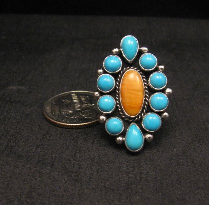 Image 0 of Native American Turquoise Spiny Cluster Silver Ring, La Rose Ganadonegro sz7
