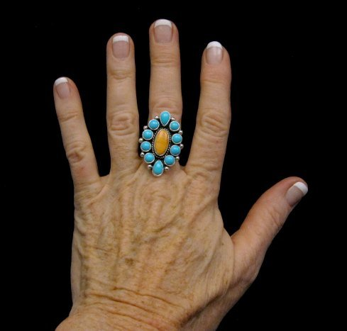 Image 2 of Native American Turquoise Spiny Cluster Silver Ring, La Rose Ganadonegro sz7