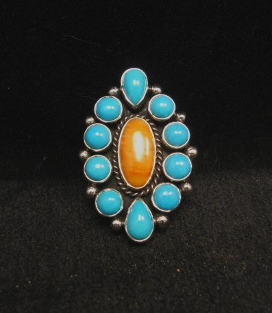 Image 4 of Native American Turquoise Spiny Cluster Silver Ring, La Rose Ganadonegro sz7