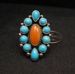 Native American Turquoise Spiny Cluster Silver Ring, La Rose Ganadonegro sz6-3/4