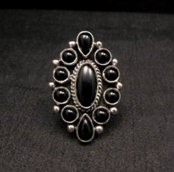 Native American Black Onyx Cluster Silver Ring, La Rose Ganadonegro sz7