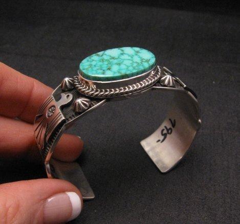 Image 9 of Andy Cadman Navajo Native American Kingman Web Turquoise Thunderbird Bracelet