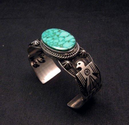 Image 1 of Andy Cadman Navajo Native American Kingman Web Turquoise Thunderbird Bracelet
