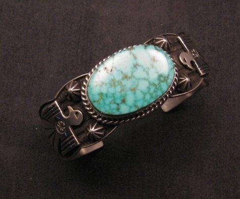 Image 6 of Andy Cadman Navajo Native American Kingman Web Turquoise Thunderbird Bracelet