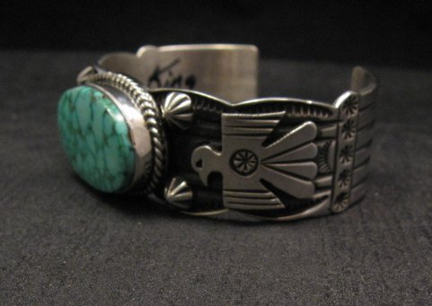 Image 4 of Andy Cadman Navajo Native American Kingman Web Turquoise Thunderbird Bracelet