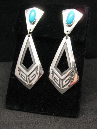 Image 0 of Long 2-pc Navajo Native American Turquoise Earrings, Everett & Mary Teller
