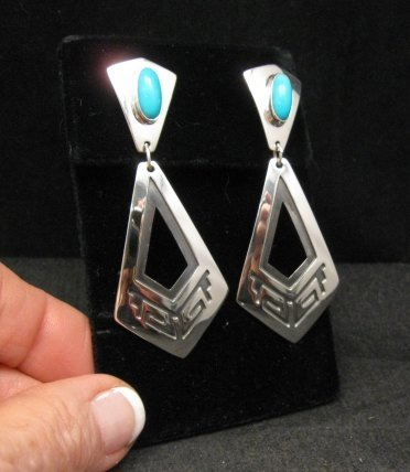 Image 1 of Long 2-pc Navajo Native American Turquoise Earrings, Everett & Mary Teller