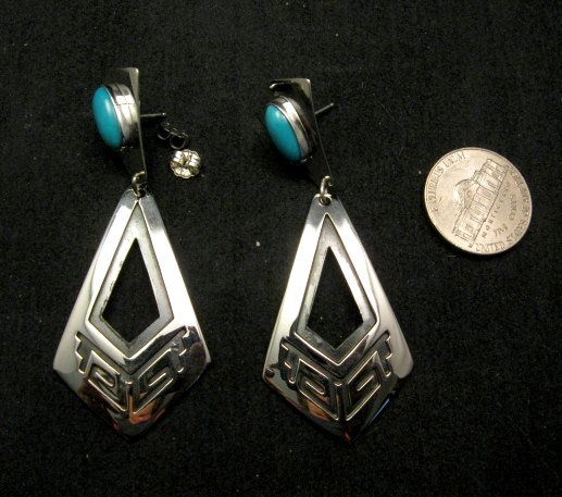 Image 2 of Long 2-pc Navajo Native American Turquoise Earrings, Everett & Mary Teller