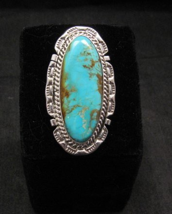 Image 4 of Long Native American Navajo Kingman Turquoise Silver Ring, Augestine Largo Sz8
