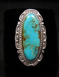 Long Native American Navajo Kingman Turquoise Silver Ring, Augestine Largo Sz8