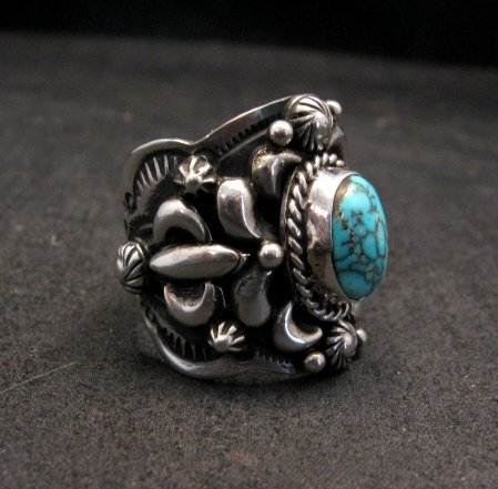 Image 1 of Native American Navajo Darryl Becenti Turquoise Silver Ring sz8-1/2