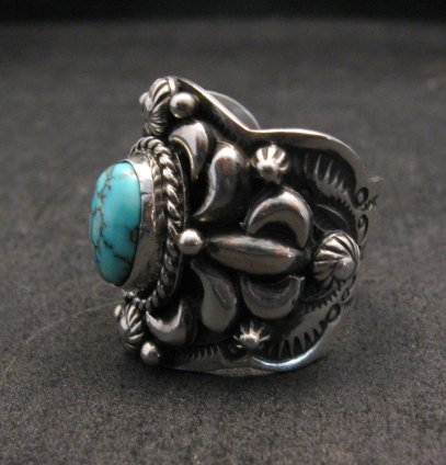 Image 2 of Native American Navajo Darryl Becenti Turquoise Silver Ring sz8-1/2