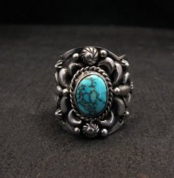 Native American Navajo Darryl Becenti Turquoise Silver Ring sz8-1/2