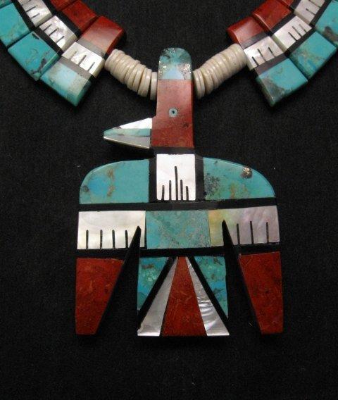 Image 1 of Big Santo Domingo Thunderbird Inlaid Tab Necklace, Delbert Crespin