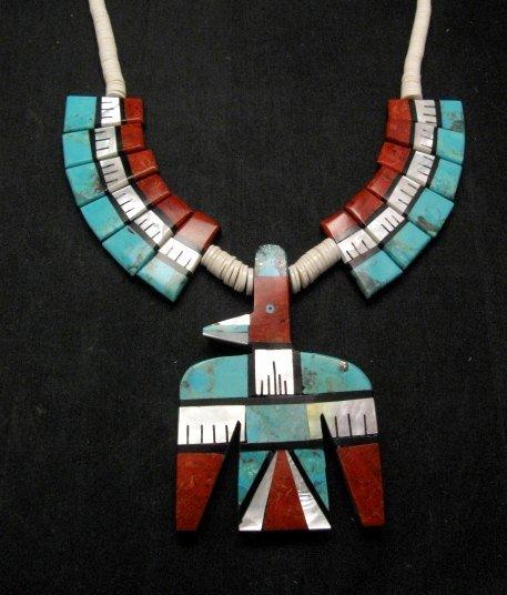 Image 2 of Big Santo Domingo Thunderbird Inlaid Tab Necklace, Delbert Crespin