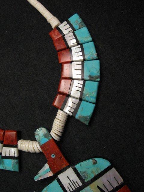 Image 3 of Big Santo Domingo Thunderbird Inlaid Tab Necklace, Delbert Crespin