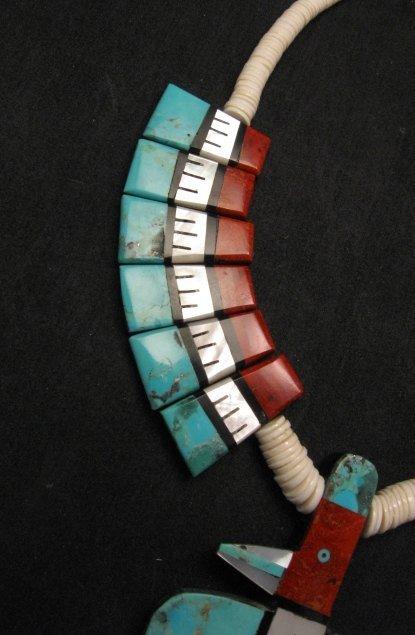 Image 4 of Big Santo Domingo Thunderbird Inlaid Tab Necklace, Delbert Crespin