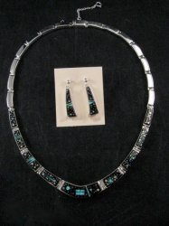 Navajo Starry Nite Inlay Necklace & Earrings Set, designed by Calvin Begay