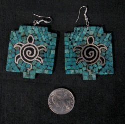 Big Santo Domingo Kewa ~ Timothy Bailon ~ Turquoise Inlay Turtle Earrings