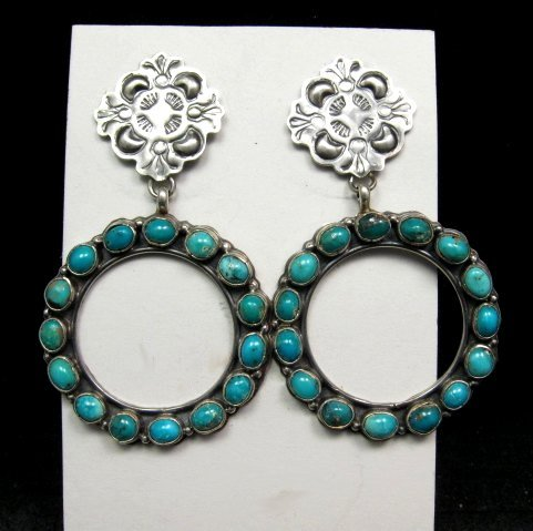 Image 0 of Annie Hoskie Navajo Native American Turquoise Circular Silver Earrings
